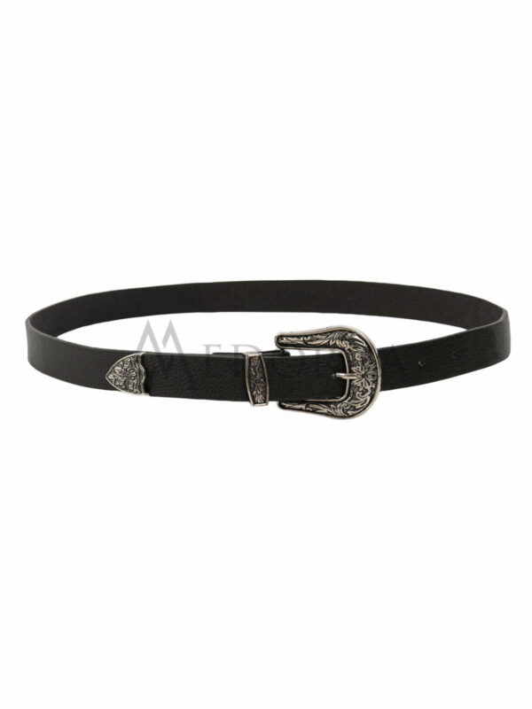 Black belt for women with decorative buckle 1
