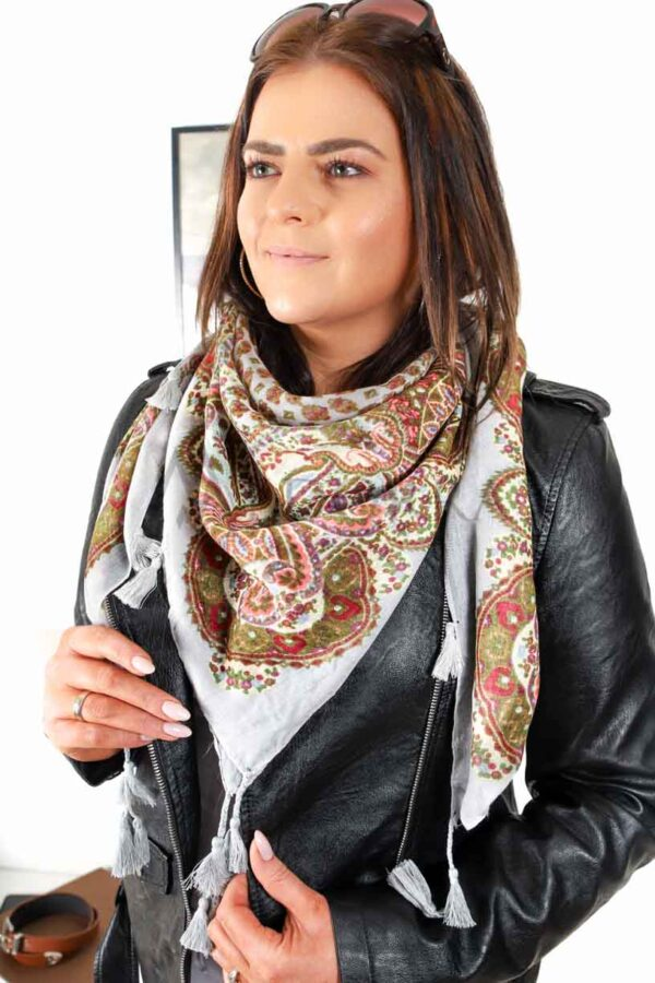 light gray scarf with fringes 7